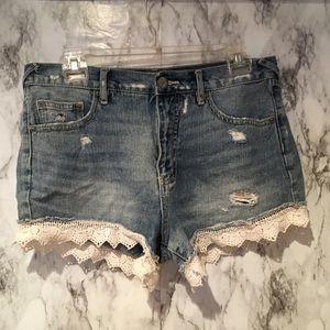 Free People Crochet Denim Jean Shorts Distressed